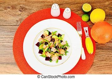 Salad with Beets, Salmon, Cucumber, Arugula, Lemon Zest, Orange,