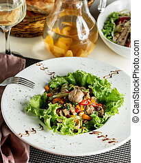 Salad with boiled vegetables and mushrooms