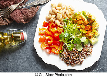 salad with fish and avocado, diet food