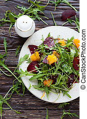 salad with fresh greens and beets