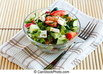 Salad with fresh vegetables and feta cheese