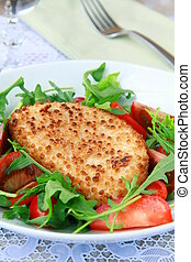 salad with fried cheese, arugula