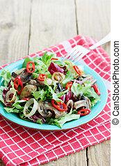 Salad with fried mushrooms