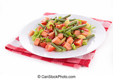 salad with green bean, potato and sausage