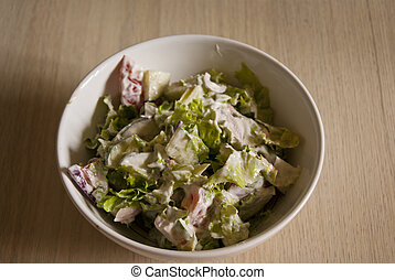 Salad with green fresh vegetables