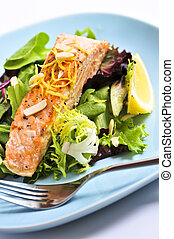 Salad with grilled salmon - Green salad with grilled salmon...