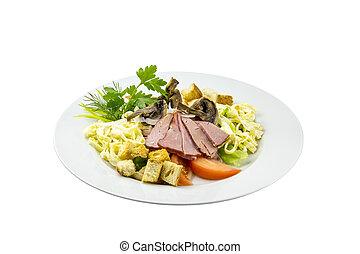Salad with ham, mushrooms, tomatoes and pasta
