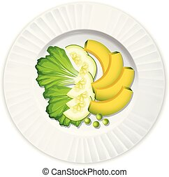 Salad with lettuce avocado and cucumber