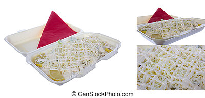 salad with mayonnaise and grated cheese in three shots