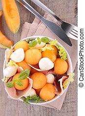 salad with melon, prosciutto and mozzarella