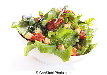 Salad with mixed greens, croutons and sundried tomatoes. ...