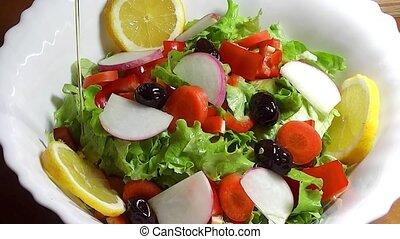 Salad with Olive Oil - salad, salad dressing, salad oil,...