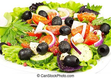 salad with olives, onion, tomato and mozzarella