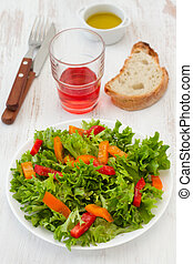 salad with red and orange pepper