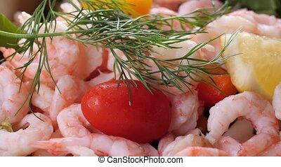 Salad with Shrimp, close up