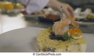 Salad with shrimps, slow motion - Salad with shrimps, close...