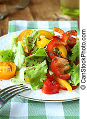 salad with sweet peppers and lettuce