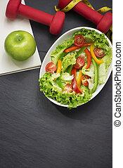 salad., zdrowy, concept., dieta, stosowność, świeży, mąka
