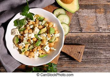 salada abacate, com, grão-de-bico