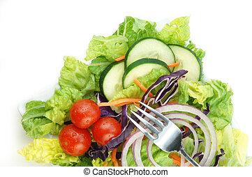 salada, com, alface, cebola, pepinos, e, tomate
