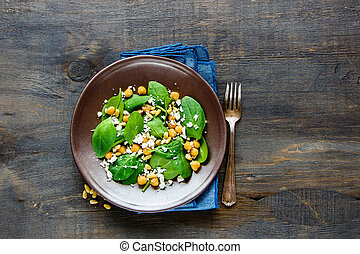 salada, com, espinafre, folhas
