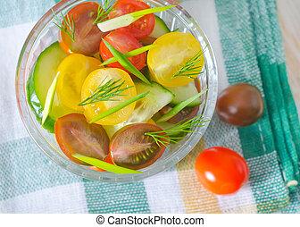 salada, com, legumes