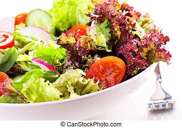 salada, com, legumes, e, verdes
