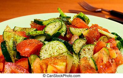 salada, com, temperos