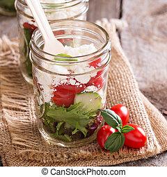 salada, em, jarros pedreiro