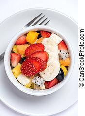 salada fruta, branco, fundo