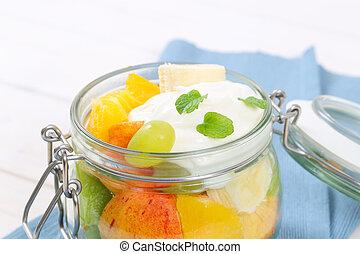 salada fruta, com, branca, yogurt