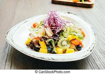 salada fruta, com, vegetal, em, prato