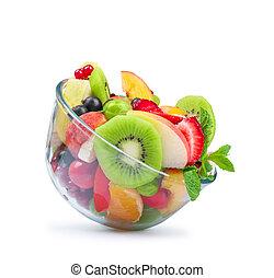 salada fruta, em, bacia vidro, isolado