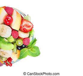 salada fruta, em, bacia vidro, isolado, branco, fundo