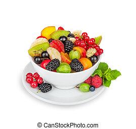 salada fruta, em, branca, tigela, isolado, branco, fundo