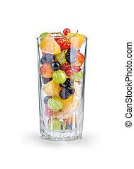 salada fruta, em, um, vidro, isolado, branco