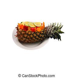 salada, fruta, isolado, bote
