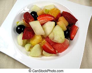 salada fruta, ligado, prato
