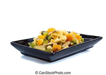 salada fruta, ligado, pretas, prato