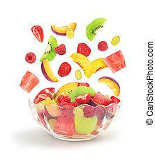 salada fruta, outono, em, bacia vidro, isolado, branco