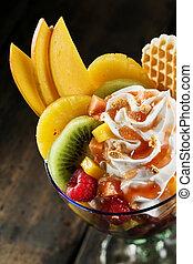 salada, fruta tropical, fresco, creme chicoteado