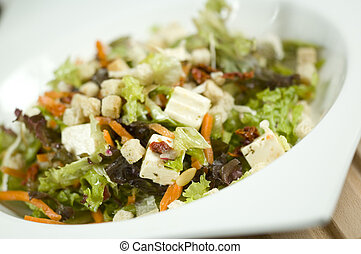 salada, inclinado, para, esquerda