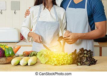 salada, par, cozinhar, jovem, junto, vegetal, cozinha