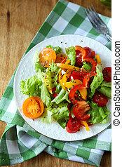 salada, prato, saudável, topo, vegetal, vista