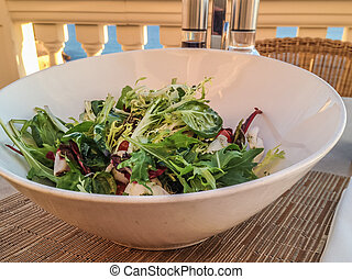 salada, restaurante, tigela, tabela, misturado, fresco, ...