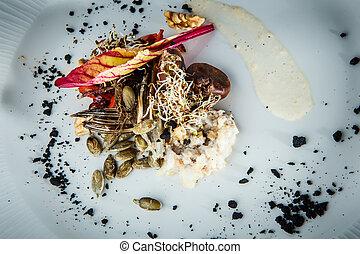 salada, saudável, fishtail, topo, nozes, sementes, closeup, ...