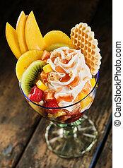 salada, saudável, fruta tropical, creme chicoteado