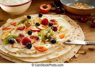 salada, saudável, fruta tropical, envoltório, creme