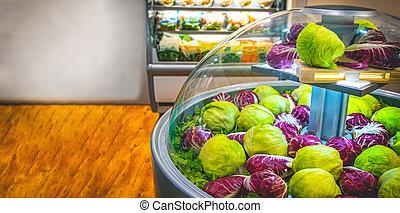 salada, supermercado, alface, refrigerador, fundo, vegetal, horizontais, mercado