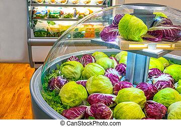 salada, supermercado, alface, refrigerador, vegetal, mercado